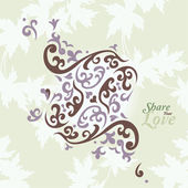 Love Flowers Elegant Card in Japanese Style, SPA, Tattoo — Vettoriale Stock