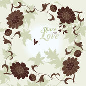 Love Flowers Elegant Card in Japanese Style, SPA — ストックベクタ