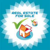 Real Estate Accept Icons, Logo Illustration With Box and House for Web and Print Design — Stock Vector