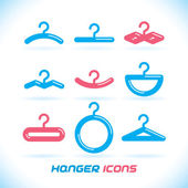 Vector Glossy Hanger Icons, Button for Baby, Child, Children, Teenager, Family, Home, Bathroom, Wardrobe — Stock Vector