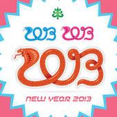 Vrolijke kerstmis, nieuwjaar 2013 dierenriemteken, slang, badge, pictogram, symbool — Stockvector