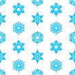 Glossy 3d Modern Blue Snowflakes Pattern — Stock Vector