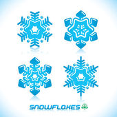 Glossy Modern Blue Snowflakes Illustration, Icon, Badge, Label, Sign, Emblem — Stock Vector