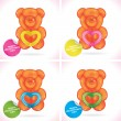 Glossy Balloon Happy Valentines Day Greeting Card with Bear, Icons, Button, Sign, Symbol, Logo for Baby, Family, Children, Teenager — Διανυσματικό Αρχείο
