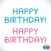 Frase di buon compleanno lucido palloncino, lettere, illustrazione, segno, icona, simbolo per bambino, famiglia, educazione — Vettoriale Stock