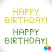 γυαλιστερό μπαλόνι φράση χαρούμενα γενέθλια, γράμματα, εικονογράφηση, σημάδι, εικόνα, σύμβολο για το μωρό, οικογένεια, την εκπαίδευση — Διανυσματικό Αρχείο
