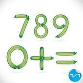 Einzigartige hochglanz-ballon-alphabet, buchstaben, illustration, zeichen, symbol, symbol für baby, familie, bildung — Stockvektor