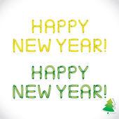光泽气球新年快乐短语、 信件、 插画、 标志、 图标、 孩子、 家庭、 教育的符号 — 图库矢量图片