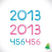 Balon błyszczący szczęśliwego nowego roku data, ilustracja, cyfr, numer, znak, ikona, symbol, logo dla dziecka, wakacje z rodziną — Wektor stockowy