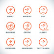 Glossy Smiles Icons Illustrations, Sign, Symbol, Button, Badge, Icon, Logo for Family, Baby, Children, Teenager — Stock Vector