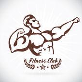 Bodybuilder Fitness Model Illustration, Sign, Symbol, Button, Badge, Icon, Logo for Family, Baby, Children, Teenager, , Tattoo — Stock Vector