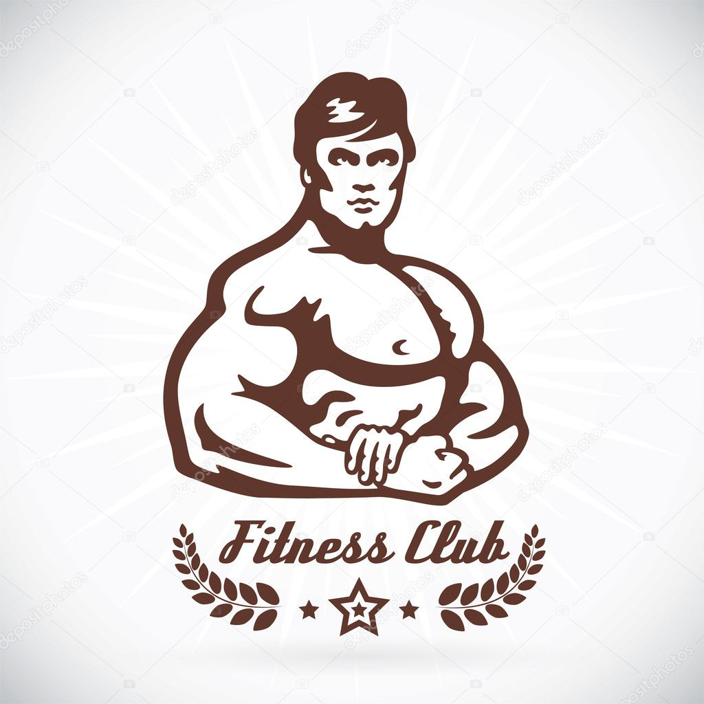 Bodybuilder Fitness Model Illustration, Sign, Symbol, Button, Badge