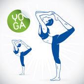 Yoga Fitness Model Illustration, Sign, Symbol, Button, Badge, Icon, Logo for Family, Baby, Children, Teenager, , SPA — Stock Vector