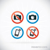 Prohibited Icons Illustration, Sign, Symbol, Button, Badge, Logo for Family, Baby, Children, Teenager — Stock Vector
