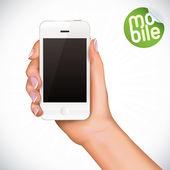 ベクトルの手のタッチ スクリーン携帯電話のイラストレーション — ストックベクタ