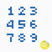 Unique Pixel Block Alphabet — Stock Vector