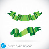 Green Satin Ribbons Illustration — Stock Vector