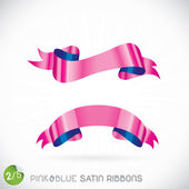 Pink & Blue Satin Ribbons Illustration — Stock Vector