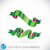 Green & Pink Satin Ribbons Illustration — Stock Vector
