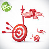 Arrow Hitting Directly In Bulls Eye Illustration — Stock Vector