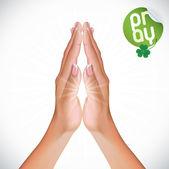 Mujeres manos rezando — Vector de stock