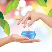 Woman Hands Holding Cream Jar — Stock Vector