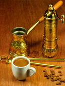 Traditional set for arabic and greek coffee — Stock Photo