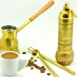Traditional set for turkish and greek coffee — Stock Photo
