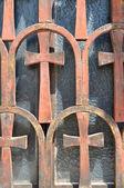 Окно церкви Панагия Капникарея — Стоковое фото