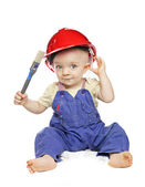 Baby boy in a builder dress — Stock Photo