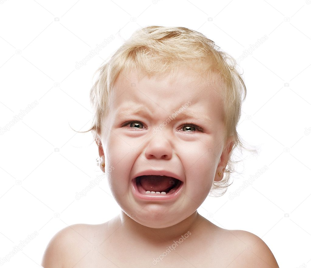 Crying baby girl isolated stock image