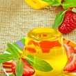 Yellow jelly and strawberry — Stock Photo