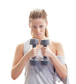 Fitness girl with dumbbells — Stock Photo