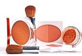 Powder, rouge, foundation and brushes — Stock Photo