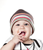 Asian baby boy in a cap — Stock Photo