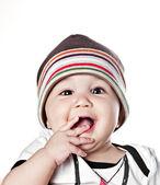 Asian baby boy in a cap — Stock Photo