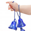 Stock Photo: Baby hand with blue christmas bauble
