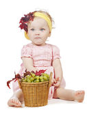 Girl with pottle of fruit — Stock Photo