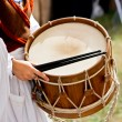 Traditional drumming woman — Stock Photo
