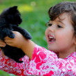 Kid with kitten — Stock Photo