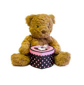 Teddy bear with love gift — Stock Photo