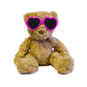 Teddy bear with love glasses — Zdjęcie stockowe