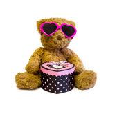 Teddy bear with love gift — Stock Photo