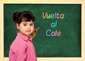 School child and board — Stock Photo