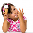 Little girl eating ice cream — Stockfoto