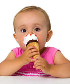 Baby eating ice cream — Stock Photo