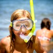 Little girls with diving mask — Stock Photo #32521859