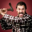 Stock Photo: Crazy lumberjack