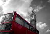 London bus and big ben — Zdjęcie stockowe