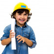 Construction worker little girl — Stock Photo